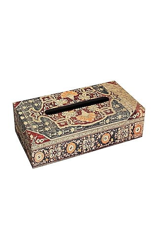 Brown Wood Handcrafted Persia Tissue Box by Karo