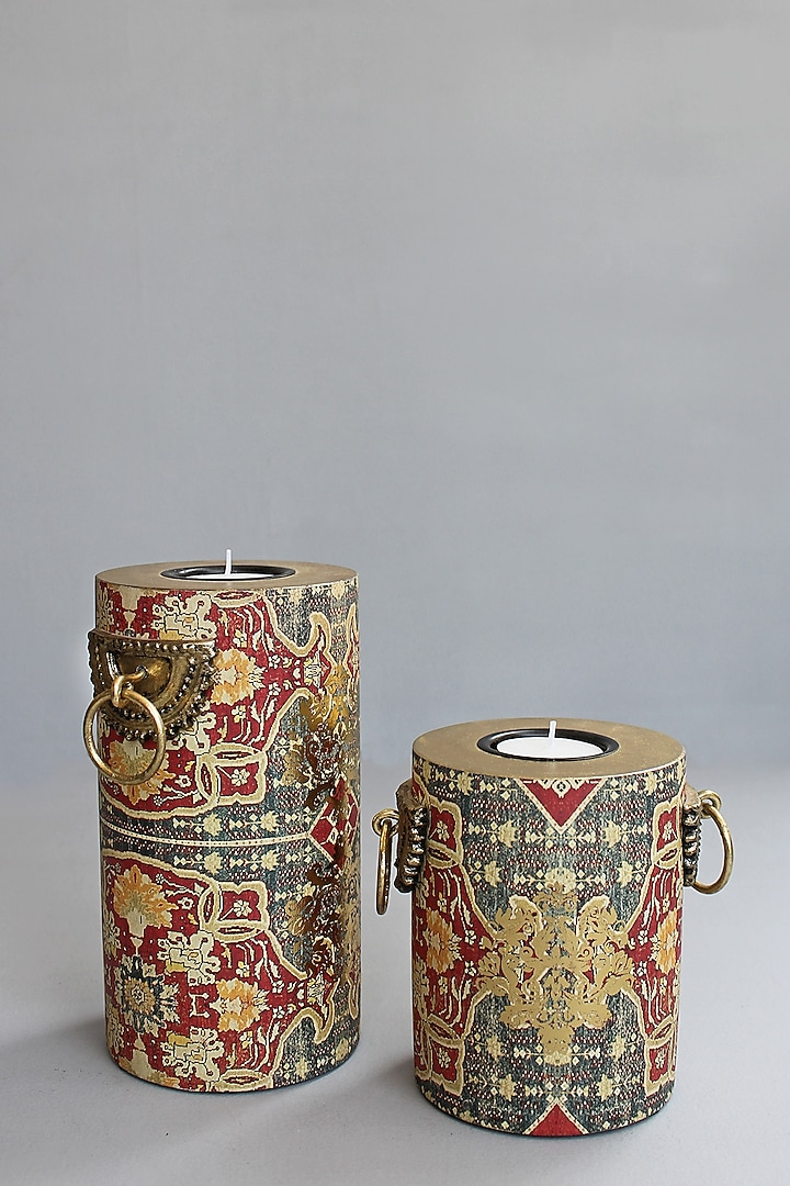 Brown Handcrafted persia Pillar Candle Holders (Set of 2) by Karo