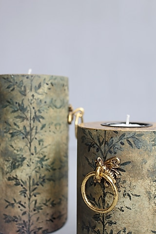 Green Handcrafted Bee Pillar Candle Holders (Set of 2) by Karo