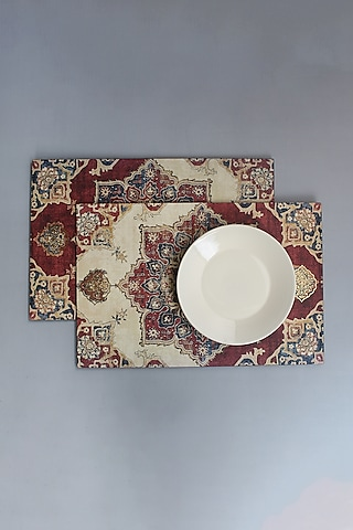 Maroon Handcrafted Abeer Table Placement Mats (Set of 6) by Karo