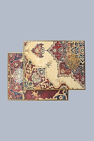Maroon Handcrafted Abeer Trivets (Set of 2) by Karo