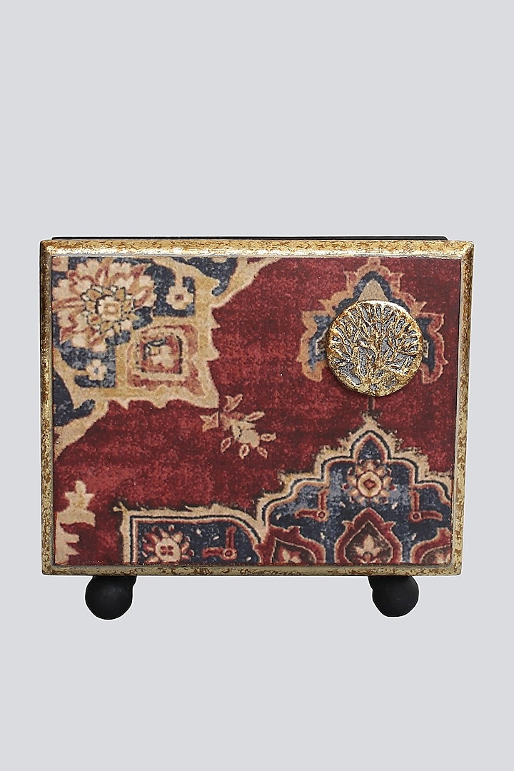 Maroon Handcrafted Abeer Tissue Box by Karo