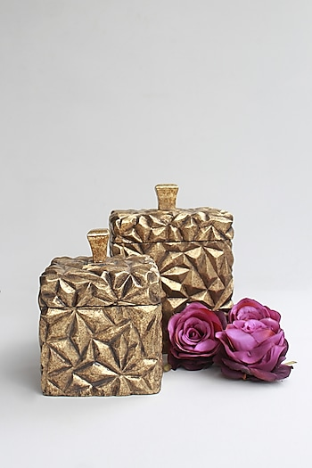 Golden Mahira Wooden Utility Box (S) by Karo
