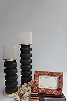 Black Alana Candle Stand (Set Of 2) by Karo