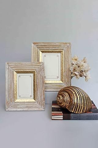 Golden Kara Photo Frame In Wood by Karo