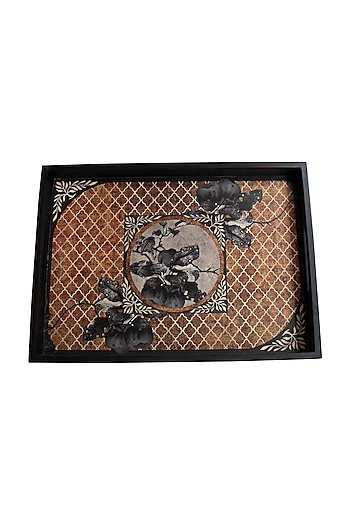 Brown Aafreen Wooden Tray (L) by Karo