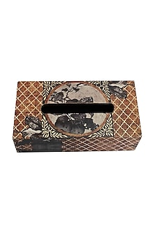 Brown Aafreen Wooden Tissue Box by Karo