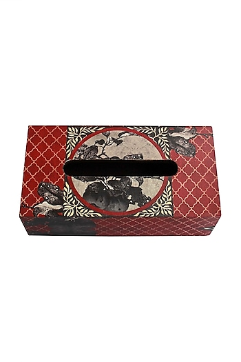 Aafreen Wooden Tissue Box In Red by Karo
