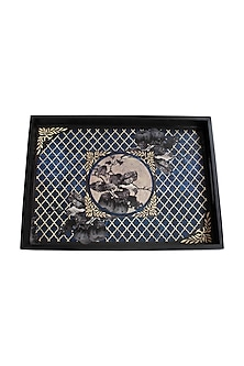 Blue Wooden Aafreen Serving Tray (L) by Karo