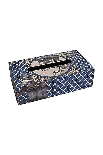 Blue Wooden Aafreen TIssue Box by Karo