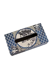 Blue Wooden Aafreen TIssue Box by Karo