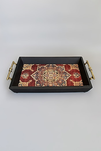 Maroon Handcrafted Wooden Tray by Karo