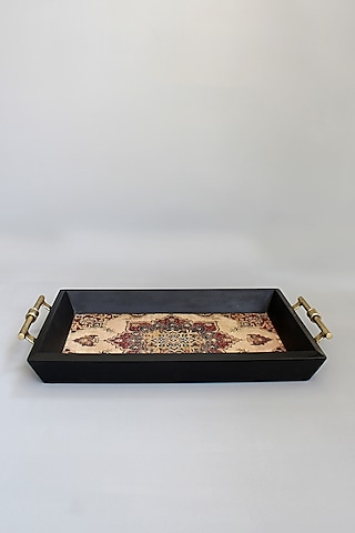 Ivory Handcrafted Wooden Tray by Karo