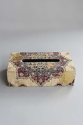 Ivory Tissue Box With Intricate Design by Karo