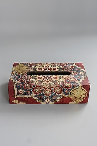 Maroon Wooden Tissue Box by Karo