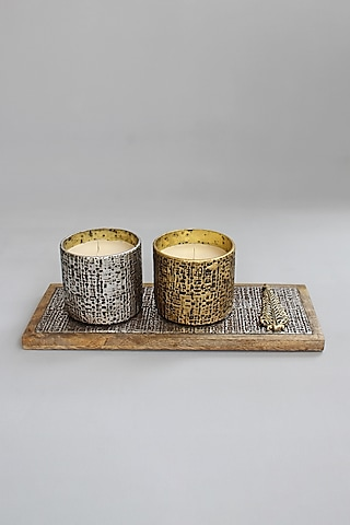Gold & Silver Candle Votives With Tray by Karo