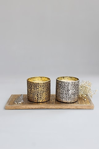 Gold & Silver Wood Candle Votives With Tray by Karo