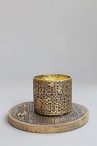 Gold & Silver Wood Candle Votive With Tray by Karo