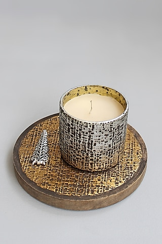 Gold & Silver Handcrafted Candle Votive With Tray by Karo