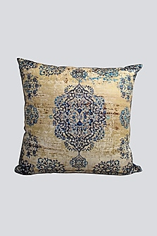 Blue Cushion Cover With Intricate Design by Karo