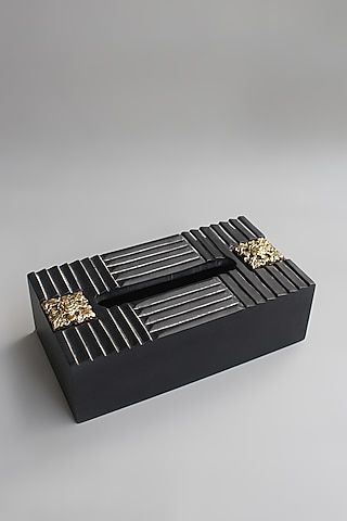 Black Handcrafted Tissue Box by Karo