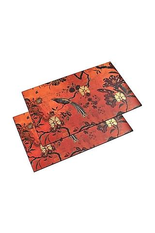 Orange Wooden Placement Mats (Set of 6) by Karo