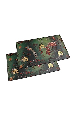 Green Luxurious Placement Mats (Set of 6) by Karo
