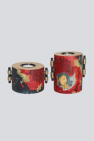 Multi Colored Candle Holders (Set of 2) by Karo