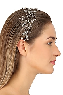 Crux Antique Silver Crystal Embellished Headpiece by Karleo