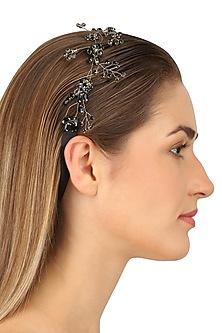 Octans Jet Black Crystal Embellished Headpiece by Karleo