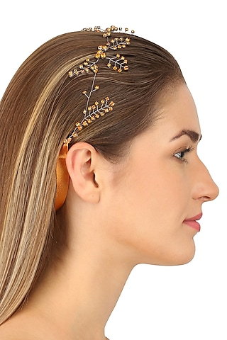 Orion Smoked Topaz Crystal Embellished Headpiece by Karleo