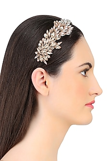Shaded Pink Crystal Leaf Pattern Embellished Headband by Karleo