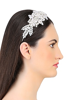 White and Opal Mix Crystal Embellished Headband by Karleo