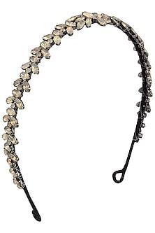 Black Diamond and Grey Opal Crystal Embellished Headband by Karleo