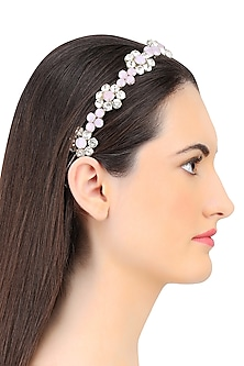 Rose and Opal Floral Crystal Embellished Headband by Karleo