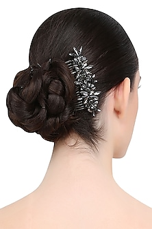 Black Diamond Crystal Embellished Haircomb by Karleo