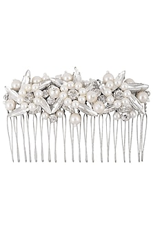 White Pearls and Crystal Mix Embellished Haircomb by Karleo
