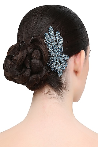 Blue Orchid Trellis Crystal Embellished Haircomb by Karleo