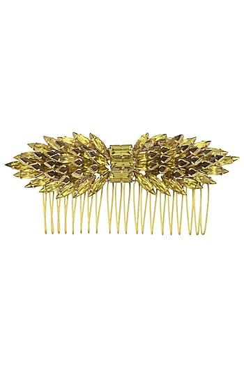 Gold and Khaki Mix Crystal Embellished Haircomb by Karleo