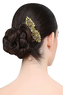 Gold and Khaki Mix Crystal Embellished Haircomb by Karleo