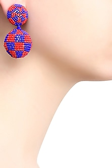 Pink and Blue Checkered Double Disc Earrings by Karleo