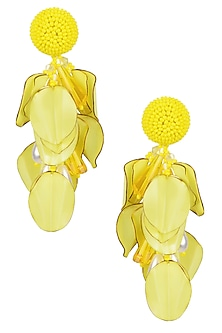 Yellow and White Burnt Petal Drop Earrings by Karleo