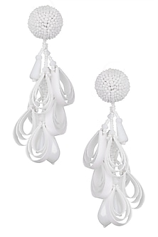 White Clustered Illusion Drop Earrings by Karleo