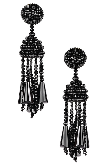 Classic Black Fringe Tassel Drop Earrings by Karleo