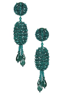 Emerald Green Flowerbud Tassel Drop Earrings by Karleo