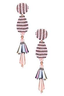 Pink and Black Beaded Bell Motif Earrings by Karleo