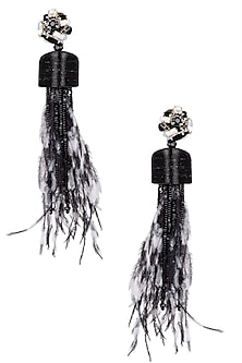 Black and White Crystal Feather Drop Earrings by Karleo