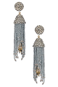 Antique Silver Beaded Tassel Drop Earrings by Karleo
