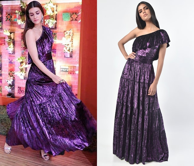 Purple One Shoulder Dress by Monisha Jaising X Shweta Bachchan Nanda