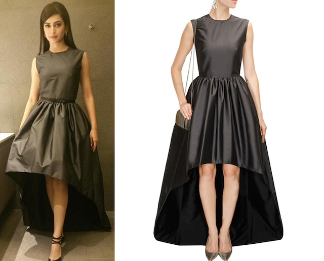 Grey and black high low dress by Neha Taneja